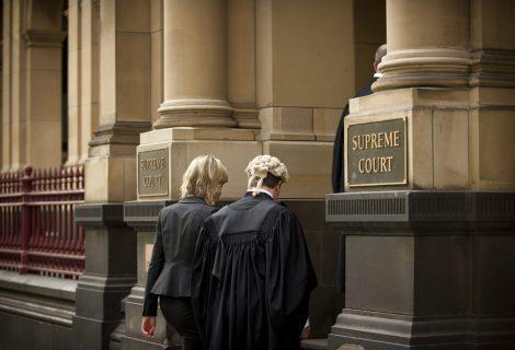 Supreme Court Judge and Lawyer walk into Supreme Court